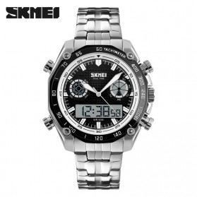 SKMEI Jam Tangan Analog Digital Pria - AD1204 - Black White - 1