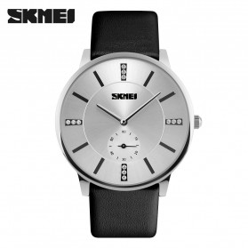 SKMEI Casual Men Leather Strap Watch Water Resistant 30m - 1168CL - Silver Black