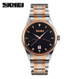 SKMEI Casual Men Stainless Strap Watch Water Resistant 30m - 9123CS - Black
