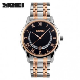 SKMEI Casual Men Stainless Strap Watch Water Resistant 30m - 9122CS - Black