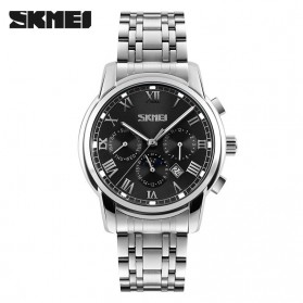 SKMEI Casual Men Stainless Strap Watch Water Resistant 30m - 9121CS - Black