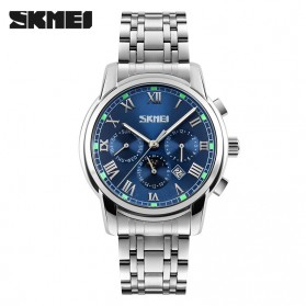 SKMEI Casual Men Stainless Strap Watch Water Resistant 30m - 9121CS - Blue