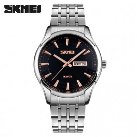 SKMEI Casual Men Stainless Strap Watch Water Resistant 30m - 9125CS - Black