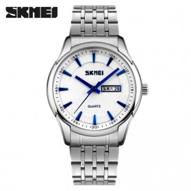 SKMEI Casual Men Stainless Strap Watch Water Resistant 30m - 9125CS - White