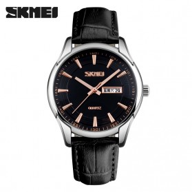 SKMEI Casual Men Leather Strap Watch Water Resistant 30m - 9125CS - Black