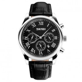 SKMEI Casual Men Leather Strap Watch Water Resistant 30m - 9078 - Black