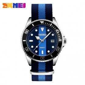 SKMEI Casual Men Colorful Army Strap Watch Water Resistant 30m - 9133C - Black/Blue
