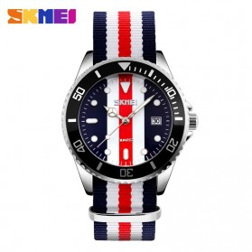 SKMEI Casual Men Colorful Army Strap Watch Water Resistant 30m - 9133C - Black White