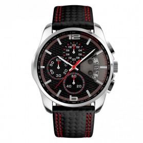 Mortima Casual Men Leather Strap Watch Water Resistant 30m - 9106CL - Black/Red
