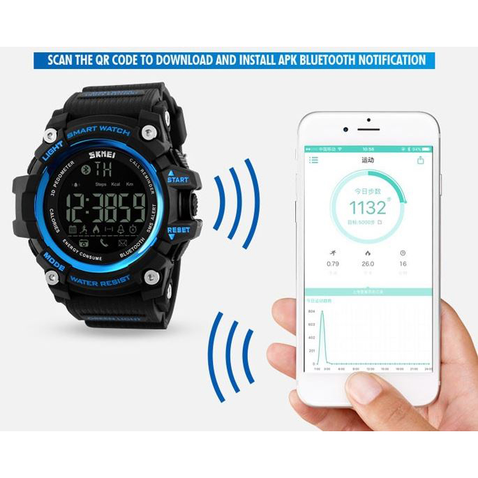 ... SKMEI Jam Tangan Olahraga Smartwatch Bluetooth - DG1227 BL - Black Blue - 3 ...