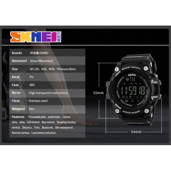 ... SKMEI Jam Tangan Olahraga Smartwatch Bluetooth - DG1227 BL - Black Blue - 6 ...