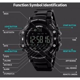 SKMEI Jam Tangan Olahraga Smartwatch Bluetooth - DG1226 BL - Black/Silver - 5