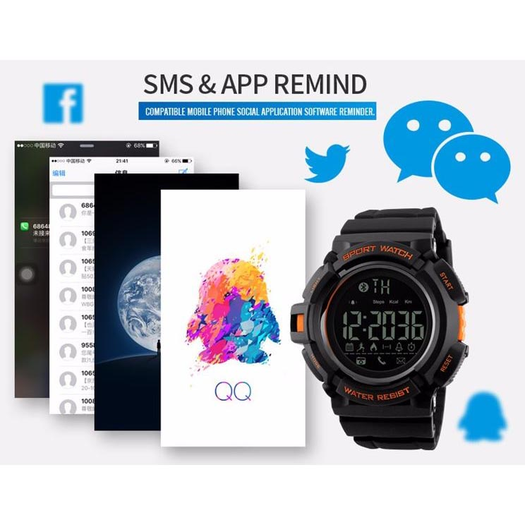 ... SKMEI Jam Tangan Olahraga Smartwatch Bluetooth - DG1245 BL - Black Blue - 3 ...