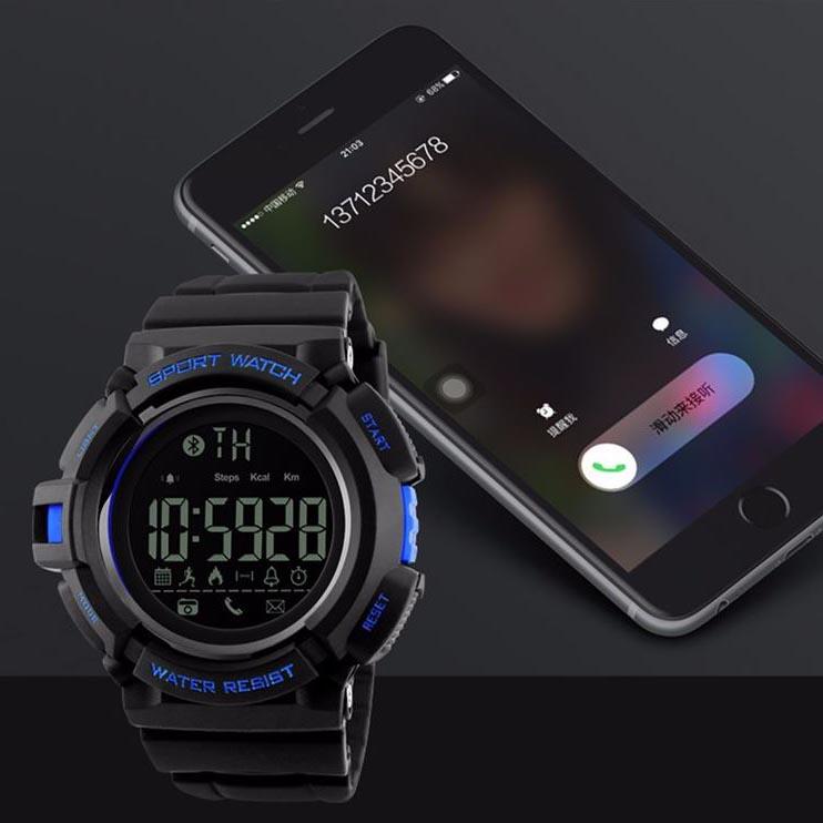 ... SKMEI Jam Tangan Olahraga Smartwatch Bluetooth - DG1245 BL - Black Blue - 4 ...