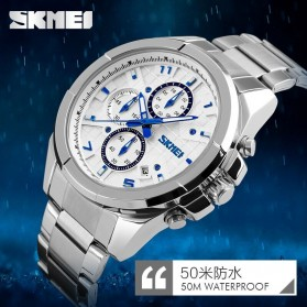SKMEI jam Tangan Analog Pria - 9109CS - White/Silver - 4