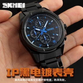SKMEI jam Tangan Analog Pria - 9109CS - Black/Silver - 4