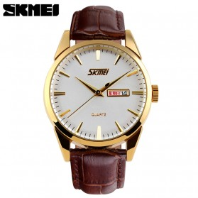 SKMEI Jam Tangan Analog Pria - 9073CL - White/Gold