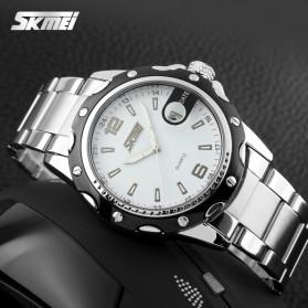 SKMEI Jam Tangan Analog Pria Strap Stainless Steel - 0992C - White/Black - 3