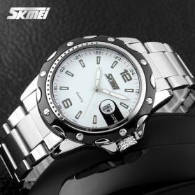 SKMEI Jam Tangan Analog Pria Strap Stainless Steel - 0992C - White/Black - 4
