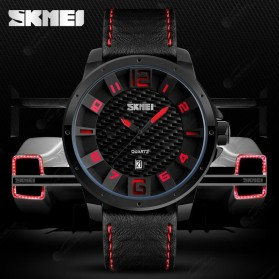 SKMEI Jam Tangan Analog Pria - 9150CL - Black/Red - 3