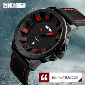 SKMEI Jam Tangan Analog Pria - 9150CL - Black/Red - 5