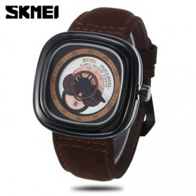 SKMEI Jam Tangan Analog Pria - 9129 - Brown/White