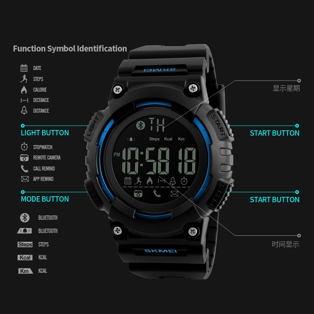 Skmei Jam Tangan Sporty Smartwatch Bluetooth 1256