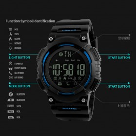 SKMEI Jam Tangan Sporty Smartwatch Bluetooth - 1256 - Blue - 3