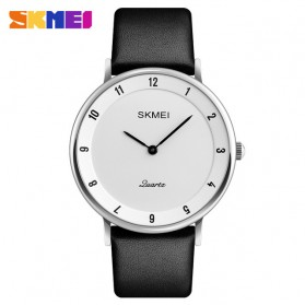 SKMEI Jam Tangan Analog Pria PU Leather - 1263 - White/Silver