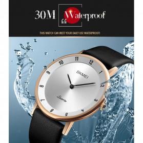 SKMEI Jam Tangan Analog Pria PU Leather - 1263 - Rose Gold/Silver - 4