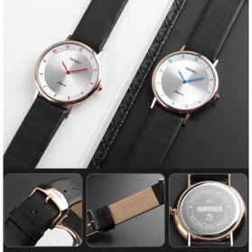 SKMEI Jam Tangan Analog Pria PU Leather - 1263 - Rose Gold/Silver - 5