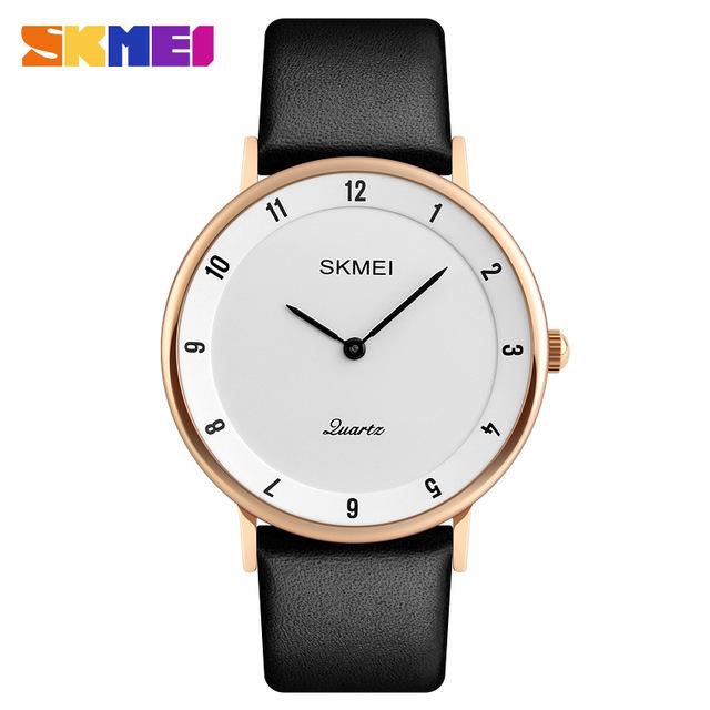 Jam SKMEI Analog Pria PU Leather – 1263 – Rose Gold/White