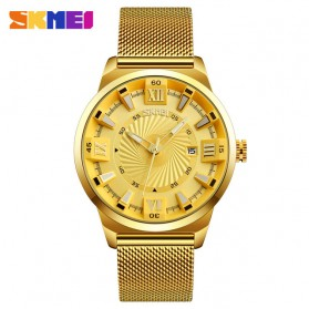 SKMEI Jam Tangan Analog Pria Stainless Steel - 9166 - Golden