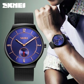 SKMEI Jam Tangan Kasual Pria Stainless Steel - 9163 - Black - 7