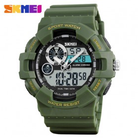SKMEI Jam Tangan Digital Analog Pria - 1312 - Army Green