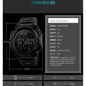SKMEI Jam Tangan Olahraga Smartwatch Bluetooth - 1303 - Black/Black - 9