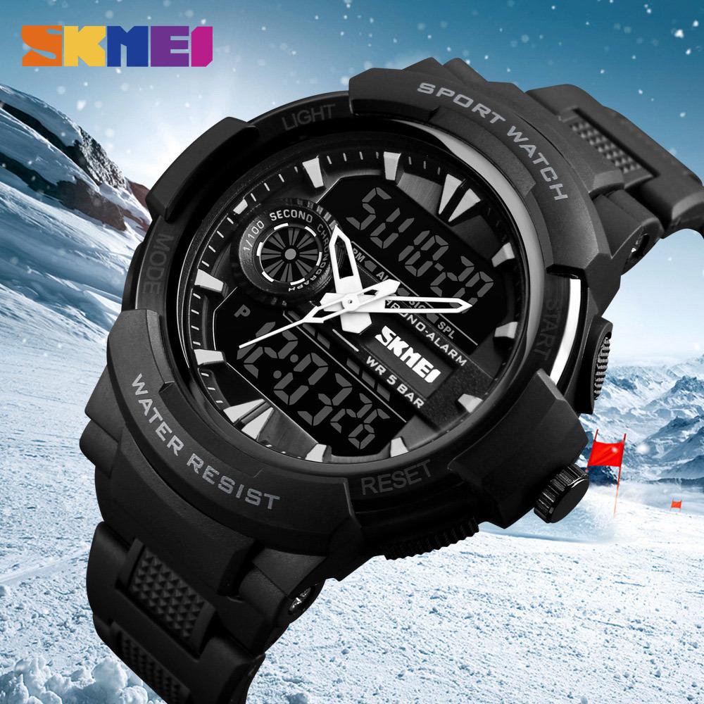 Skmei Jam Tangan Analog Digital Pria Ad1202 Titanium Gray Lihat Sport Cowok Led Casio Baby G Shock Fortuner Wr 50m 1202 Sporty 1320 Black 5