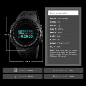 SKMEI Jam Tangan Digital Pria Kompas Pedometer Kalori Termometer - 1360 - Black - 7