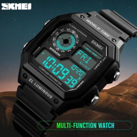 SKMEI Jam Tangan Digital Pria Kompas Pedometer Kalori - 1373 - Black - 2
