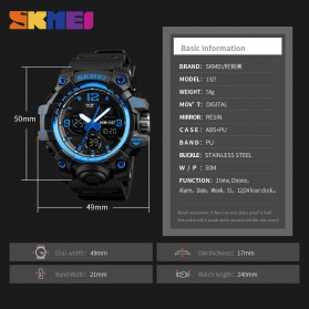 SKMEI Jam Tangan Digital Analog Pria - 1327 - Black - 4