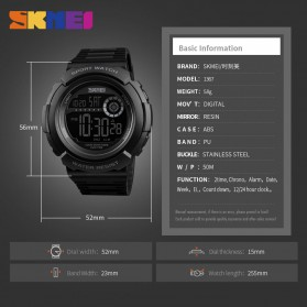 SKMEI Jam Tangan Digital Pria - 1367 - Black/Black - 6
