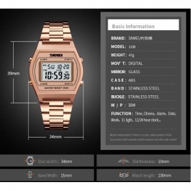SKMEI Jam Tangan Digital Pria - 1328 - Rose Gold/Black - 7