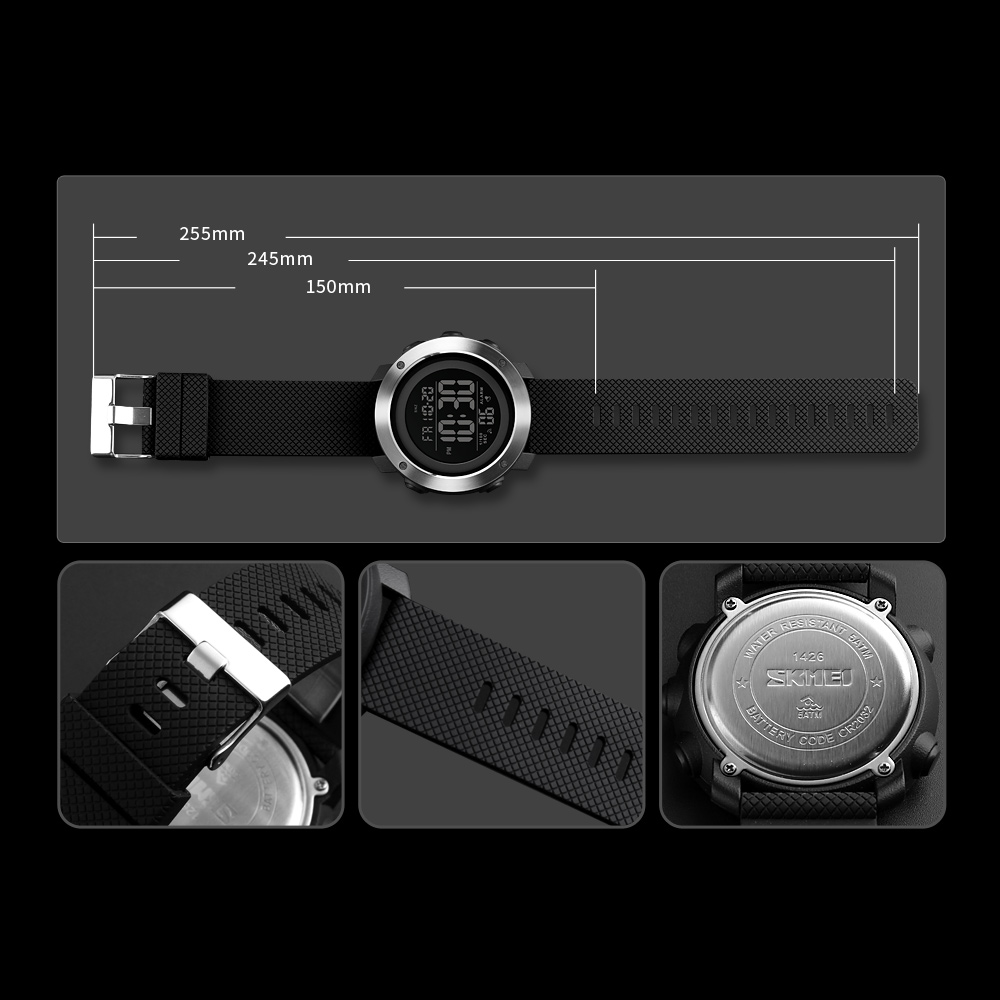 Skmei Jam Tangan Digital Sporty Pria 1416 Black Solar Power Sport Led Watch Water Resistant 50m Ad1064e 4