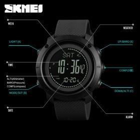 SKMEI Jam Tangan Digital Sporty Pria Pedometer Calorie Compass - 1418 - Black - 5
