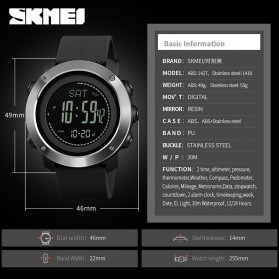 SKMEI Jam Tangan Digital Sporty Pria Pedometer Calorie Compass - 1418 - Black - 6