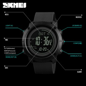SKMEI Jam Tangan Digital Sporty Pria Pedometer Calorie Compass - 1427 - Black - 5