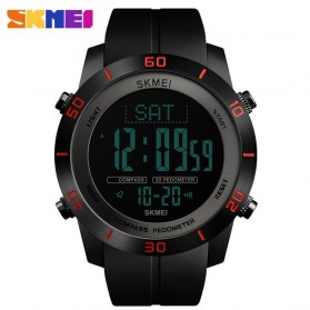 SKMEI Jam Tangan Kompas Pedometer Digital Pria - 1354 - Black/Red
