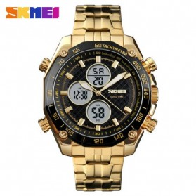 SKMEI Jam Tangan Kasual Digital Analog Pria - 1302 - Golden