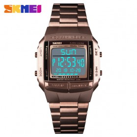 SKMEI Jam Tangan Digital Pria - 1381 - Coffee/Gold - 1