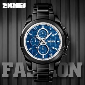 SKMEI Jam Tangan Analog Pria Strap Stainless Steel - 1378 - Black/Blue - 4